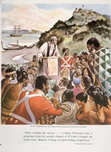 Morgan, Jack :Oihi Bay, Christmas Day 1814; Samuel Marsden preaching the first sermon to the Māoris. [Auckland, Weekly News, 1964] http://mp.natlib.govt.nz/detail/?id=8815